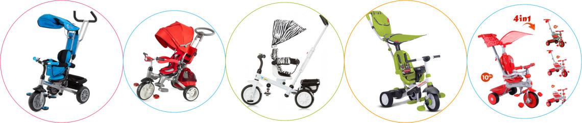 Triciclete cu maner de impingere si copertina